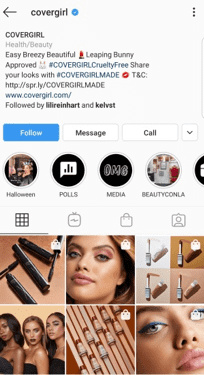 covergirl instagram page