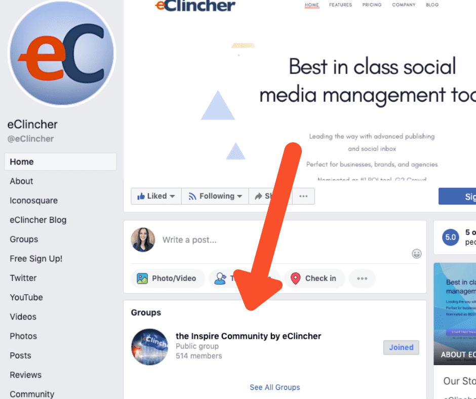 inspire community eclincher facebook group