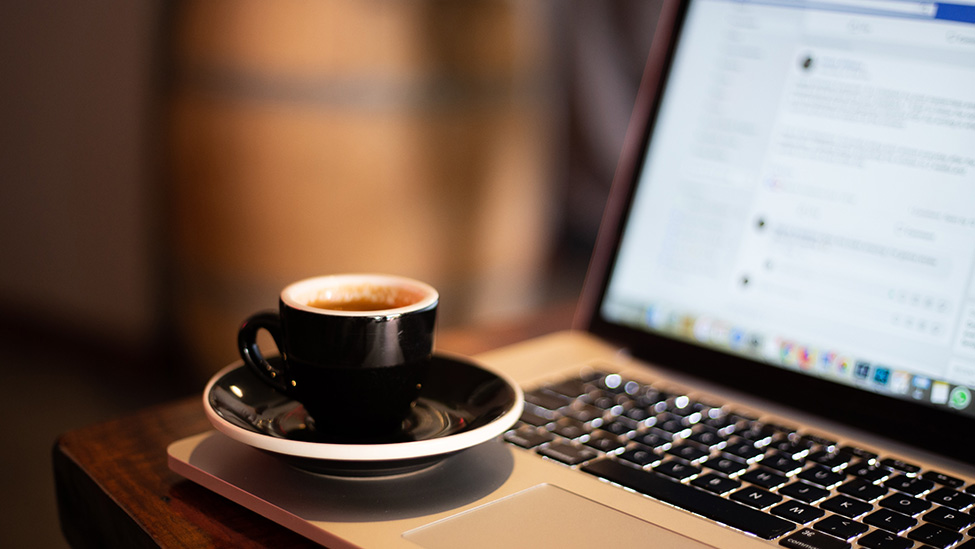 cup of coffee and facebook