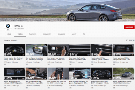 BMW main youtube page