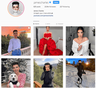 james charles instagram page
