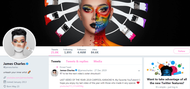 james charles twitter page