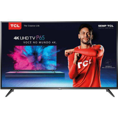 "Smart TV Led 55"" TCL P65us Ultra HD 4k HDR 55p65us Conversor Digital Integrado 3 HDMI 2 USB Wi-Fi integrado Sleep timer Closed Caption"