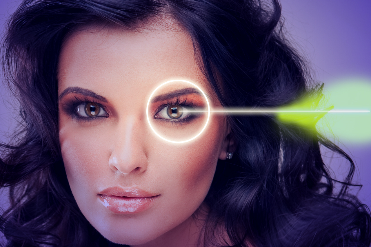 Woman with laser pointing to the eyes, Eye Doctor in Hoffman Estates, IL