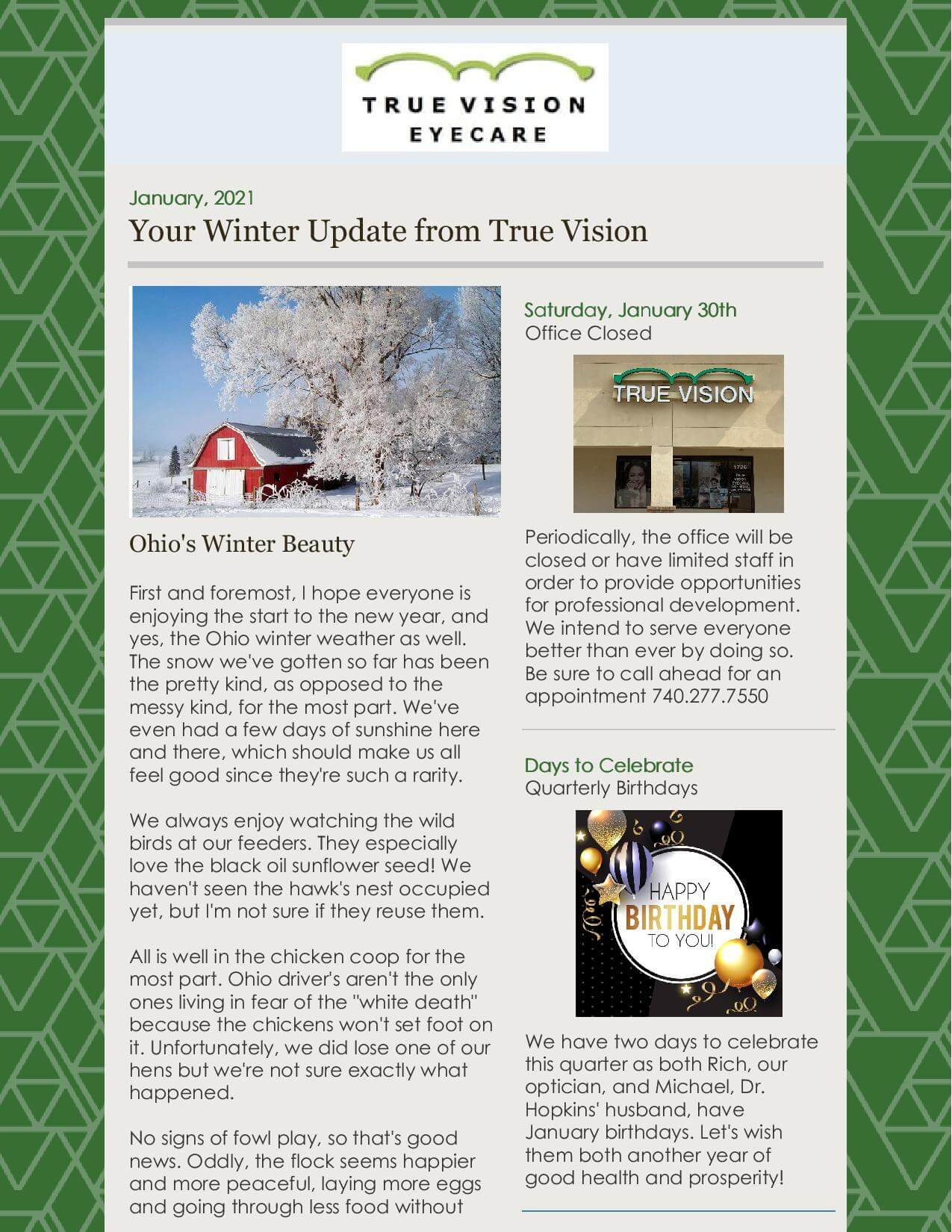 Winter Update and Newsletter - Eye Care in Lancaster, Ohio