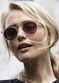 Model wearing Prodesign Denmark sunglasses