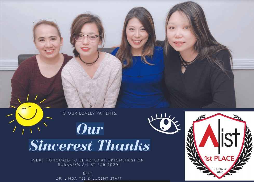 We're honoured to be voted #1 Optometrist on Burnaby's A-List for 2020!