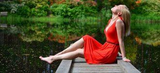 Woman wearing contact lenses, relaxing