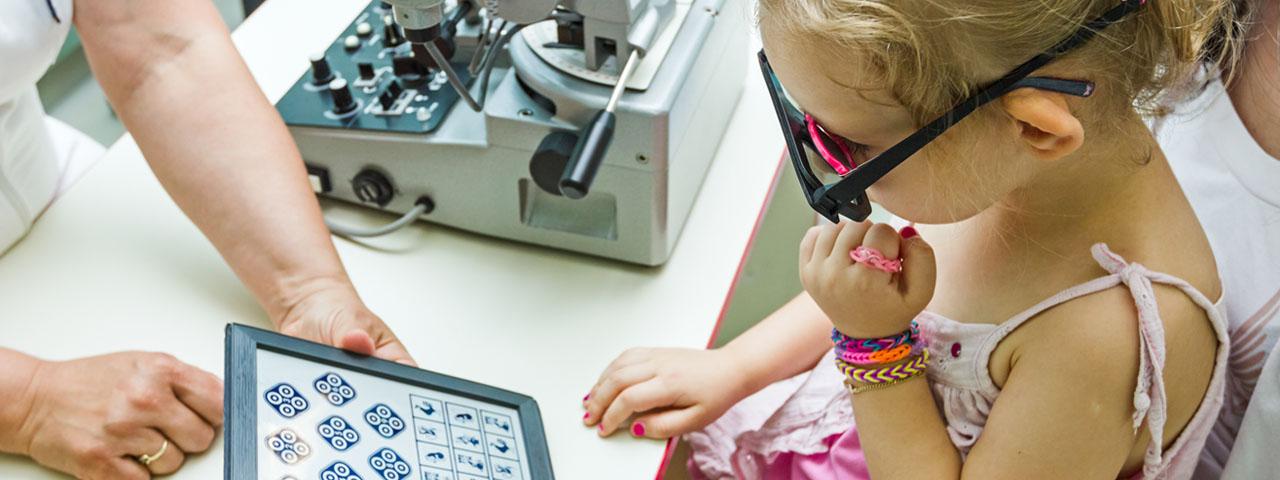 Girl having eye exam in Waco, TX