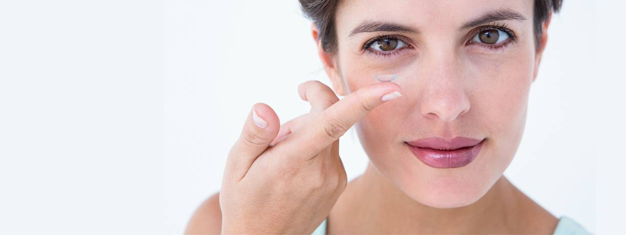 Woman Illustrating Contact Lens Overuse