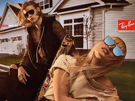 Man and woman wearing sunglasses- ray ban summer 2019 collection: cariboo