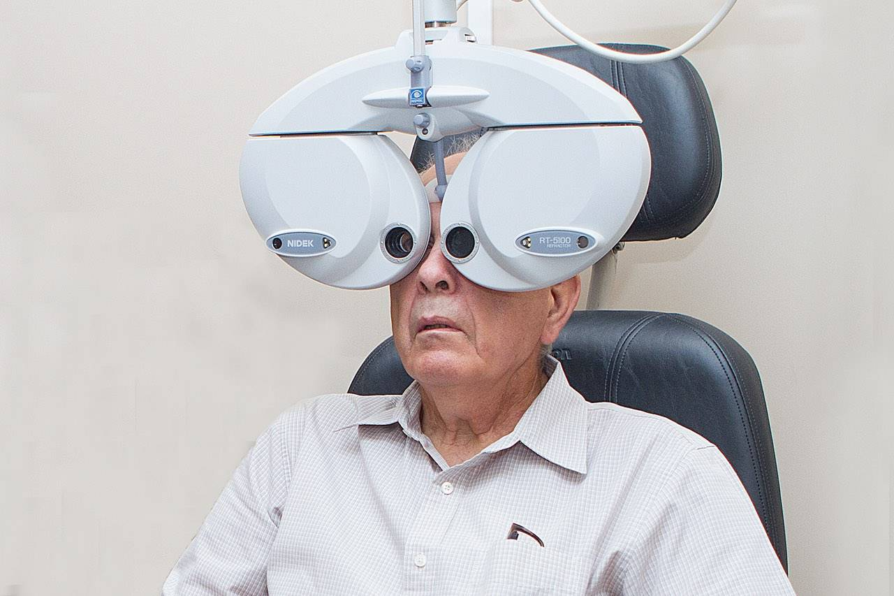 Elderly Man Being Checked for Keratoconus