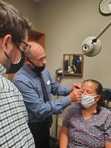 Our Optometrist treating a patient with Tear Care in Columbus, OH