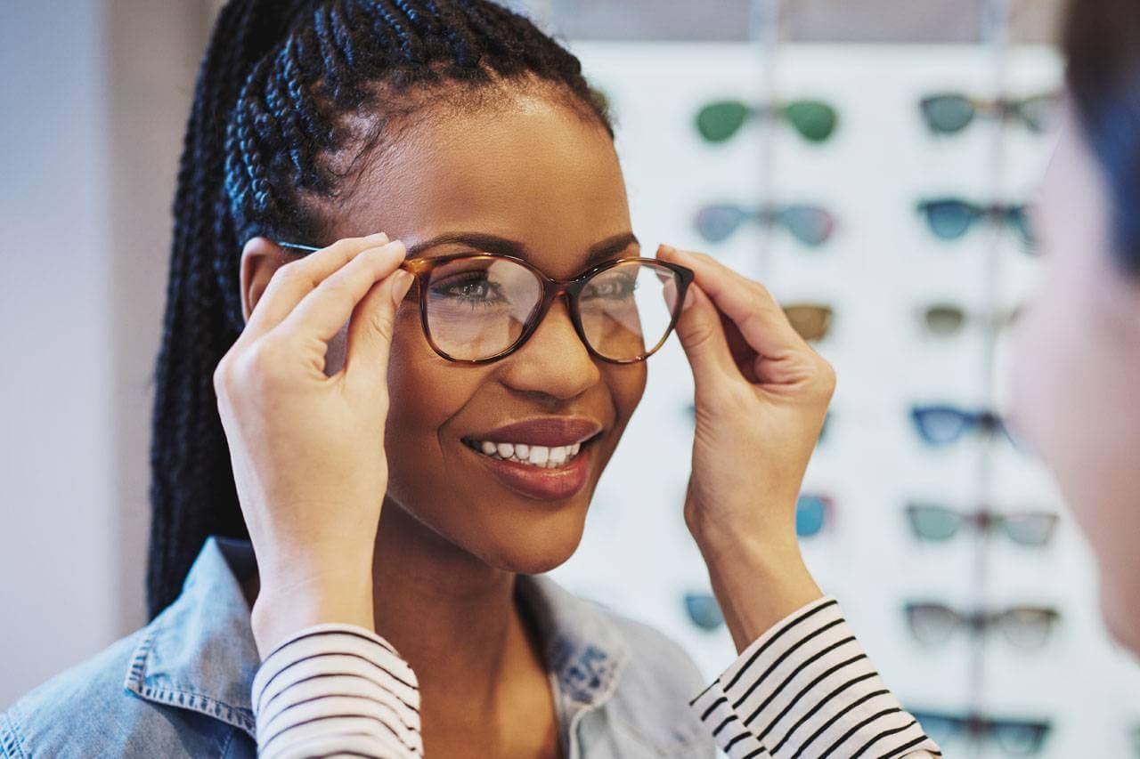 WOman enjoying eyeglasses in Pleasanton, CA
