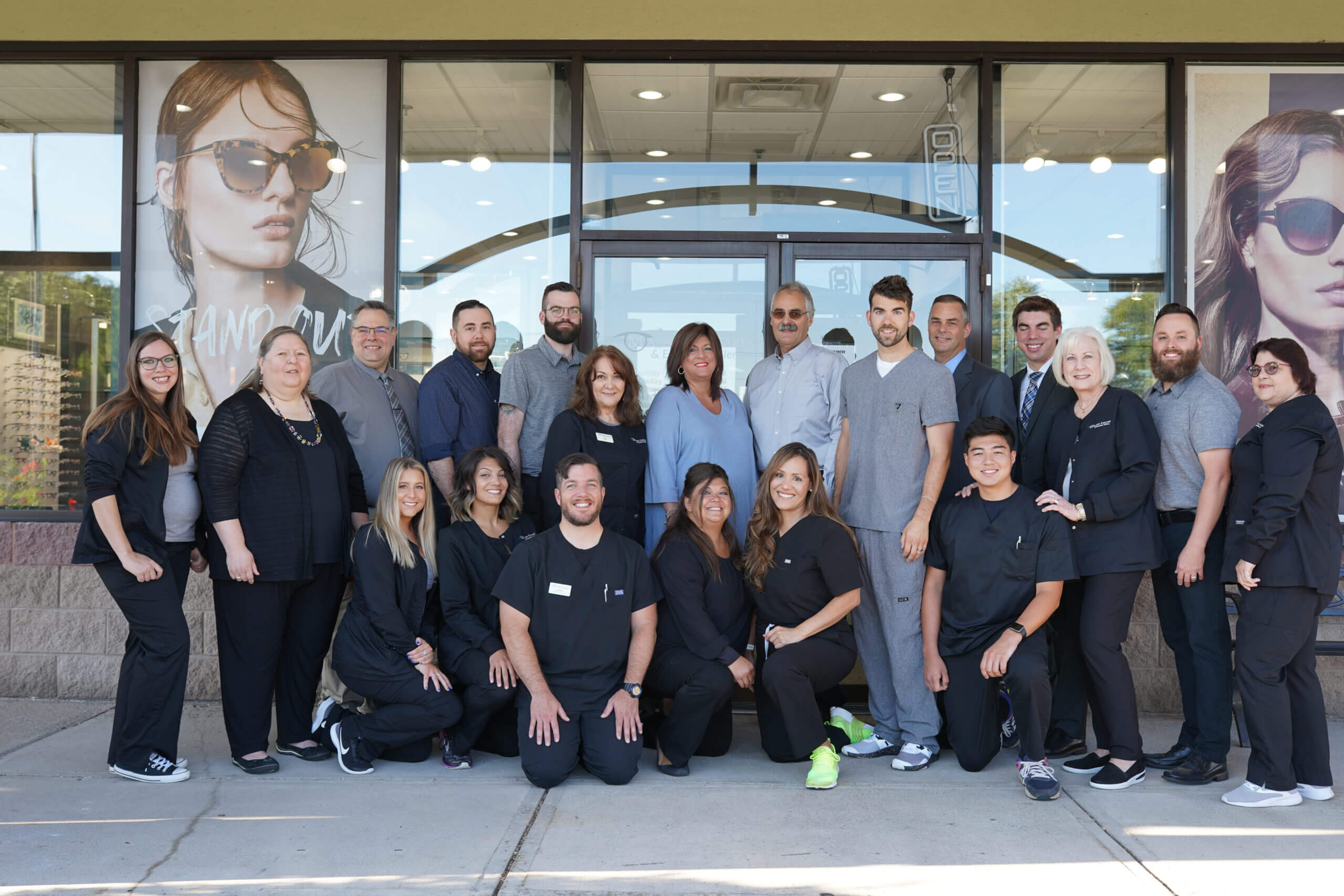 optometrist and staff at Malara Eyecare & Eyewear Gallery in Liverpool