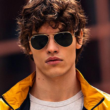 ray ban man sunglasses gold.jpg