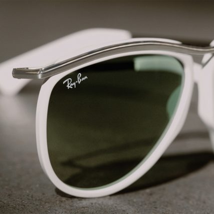 ray ban white rim sunglasses upclose.jpg