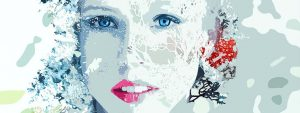 Abstract Female Face Wintery 1280×480
