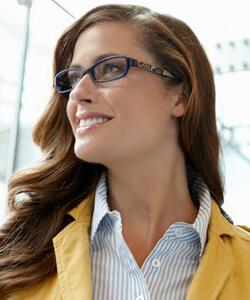 Eye care, Model wearing Vera Bradley glasses in Hattiesburg, MS