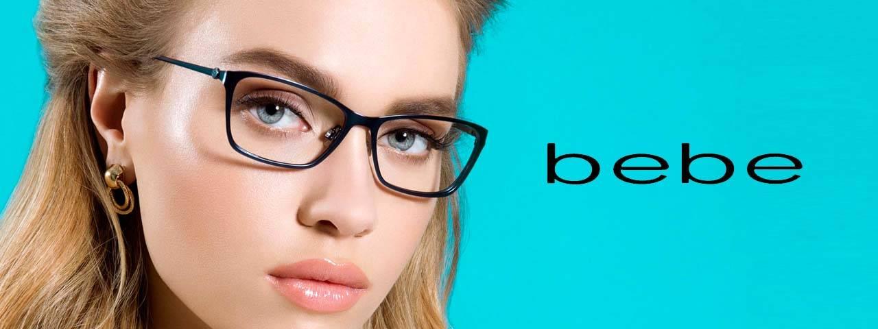 Woman wearing Bebe eyeglass frames