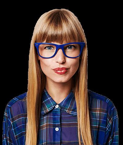 woman blue glasses and plain shirt