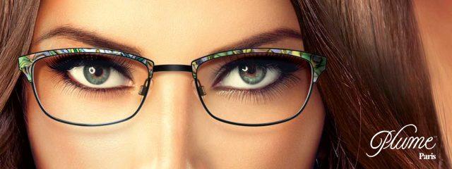 Eye doctor, woman wearing Plume Paris eyeglasses in Milton, ON