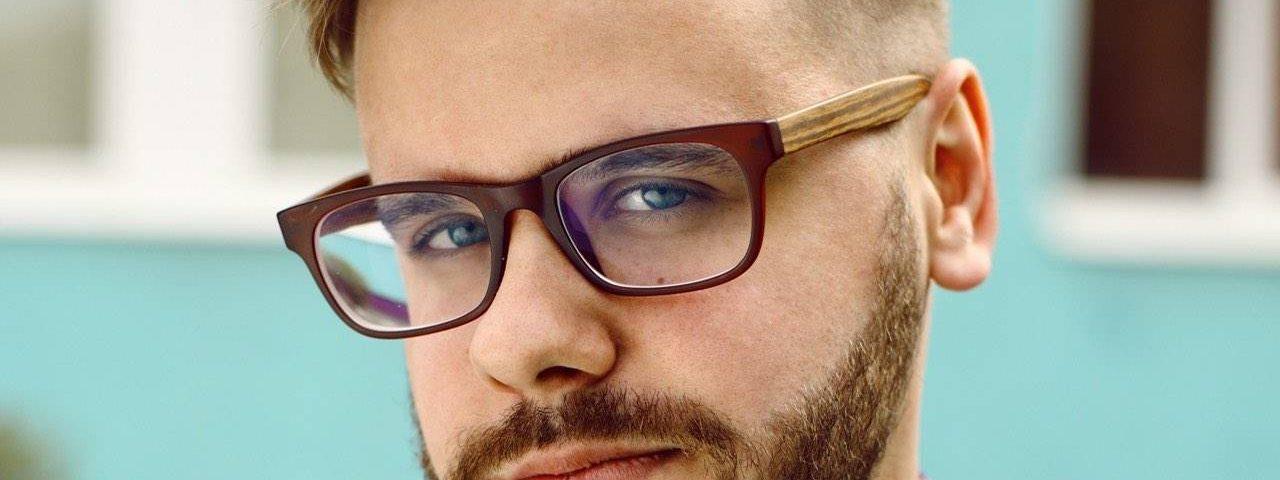 Man Wearing Designer Eyeglass Frames