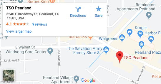 TSO Pearland Google Map