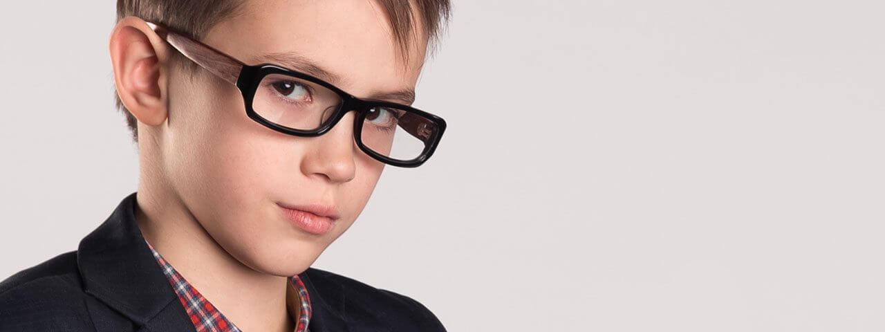 Boy wearing eyeglasses