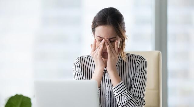 Tired Businesswoman Massaging Eyes Feeling Strain Fatigue Headac
