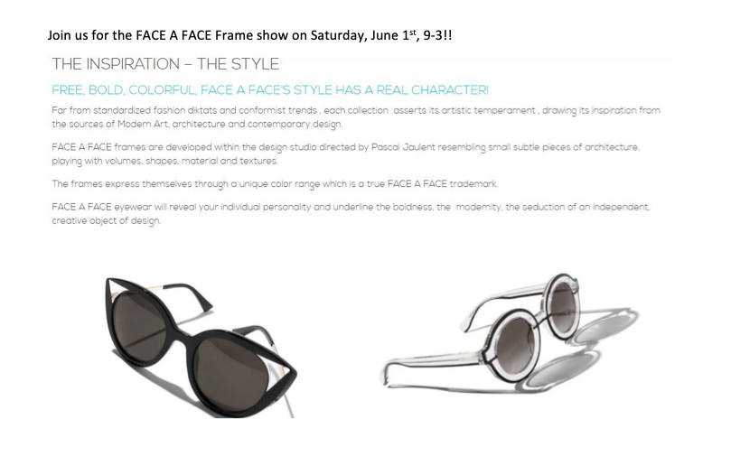 Join us for the FACE A FACE Frame show on Saturday, June 1st