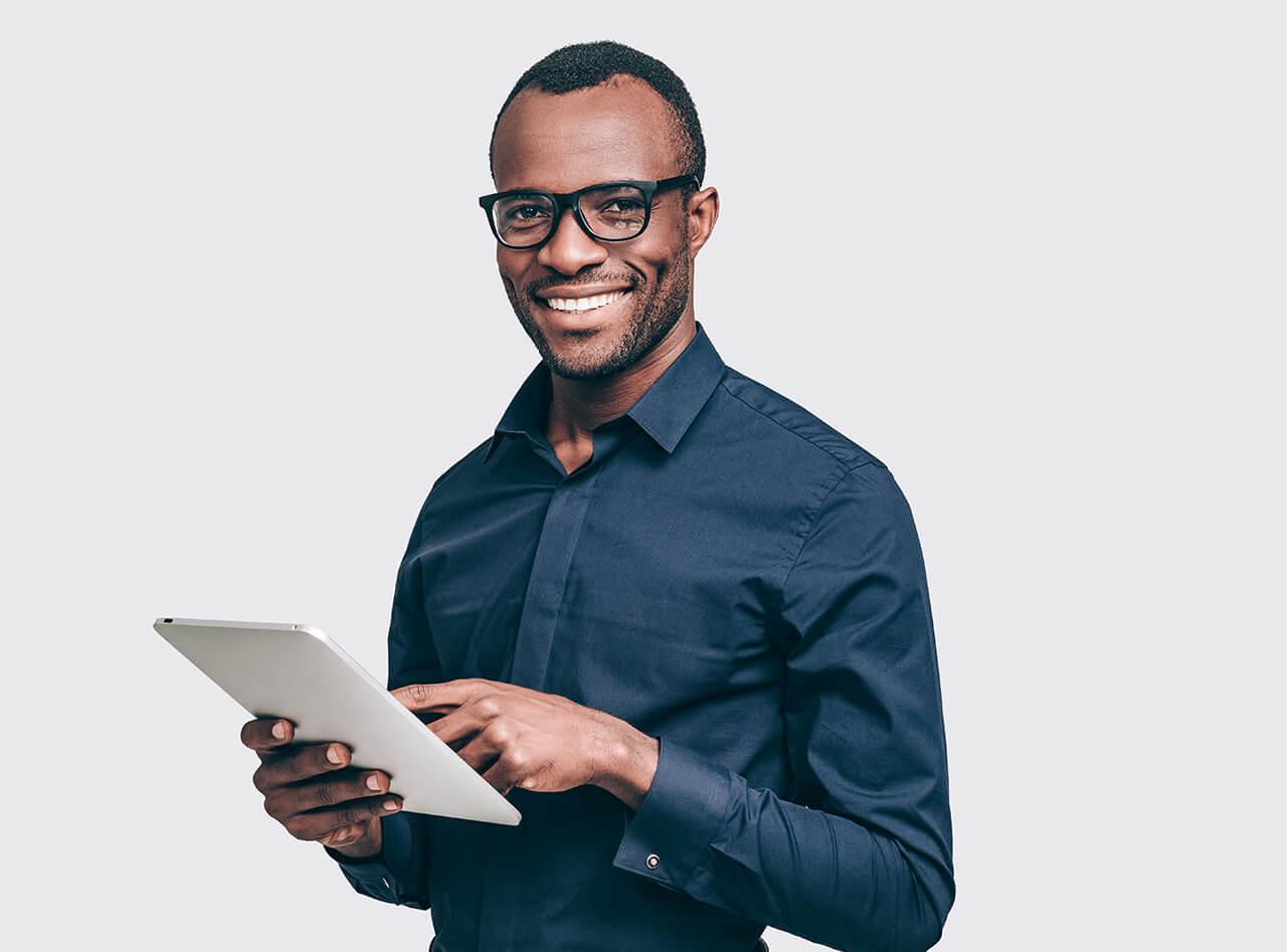 man computer booking consultation