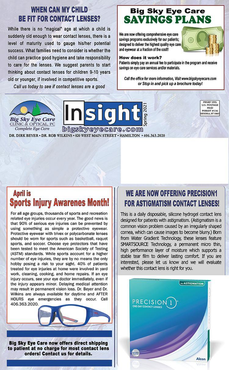 Page 2 of our Spring 2021 Eye Care and Eye Doctor's newsletter