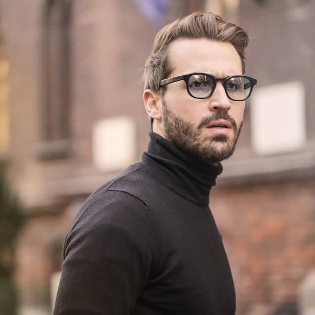 Man wearing designer sunglasses