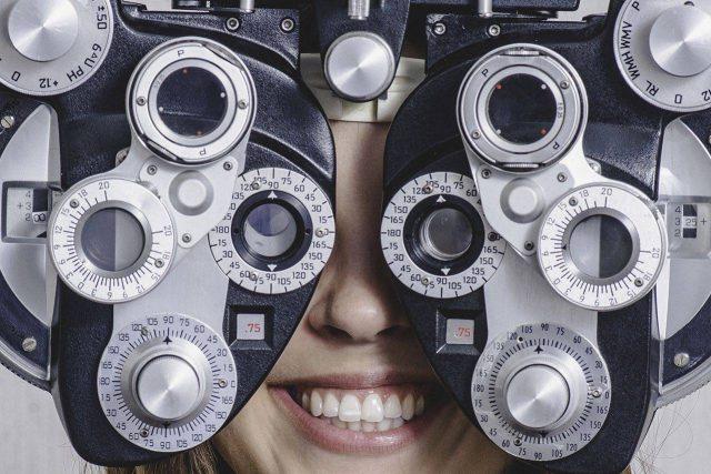 Woman enjoying her eye exam
