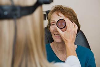 Young man having eye exam