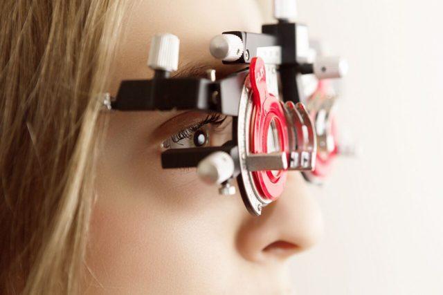 Girl Demonstrating Eye Exams at The Eye Doctors in Eden Prairie, Minnesota