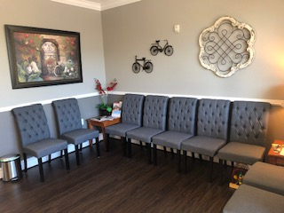 Remodeled waiting room in our eye care clinic