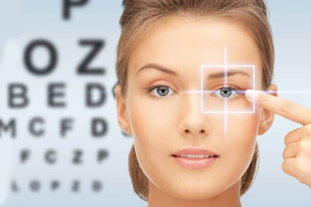 Woman in front of eye chart, illustration of Eye Exams in Florence