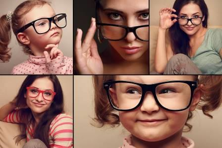 Family grid with kids wearing glasses in Fort Worth TX