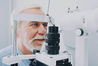 Senior Patient Receiving Eye Exam