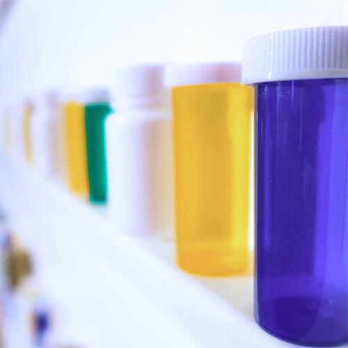 Medicine bottles on a shelf