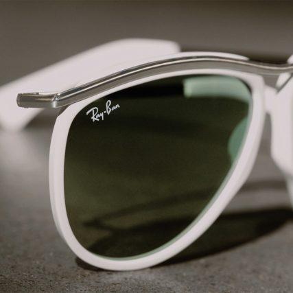 ray ban white rim sunglasses upclose