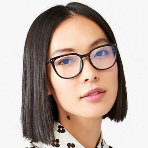 asian girl wearing kate spade eyeglasses