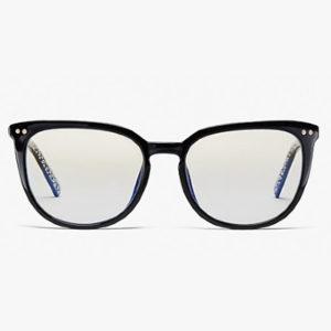 pair of black rimmed kate spade eyeglasses