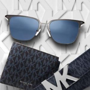pair of blue tinted michael kors sunglasses