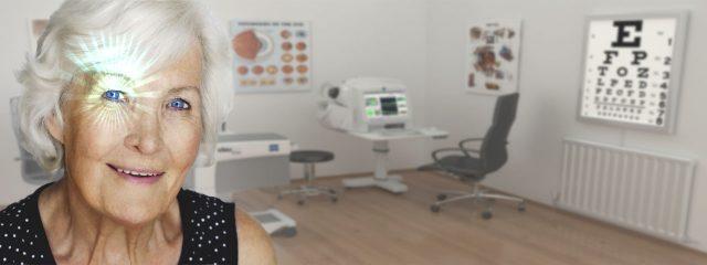 Eye Exam, Senior woman getting MD surgery in Dallas, Texas