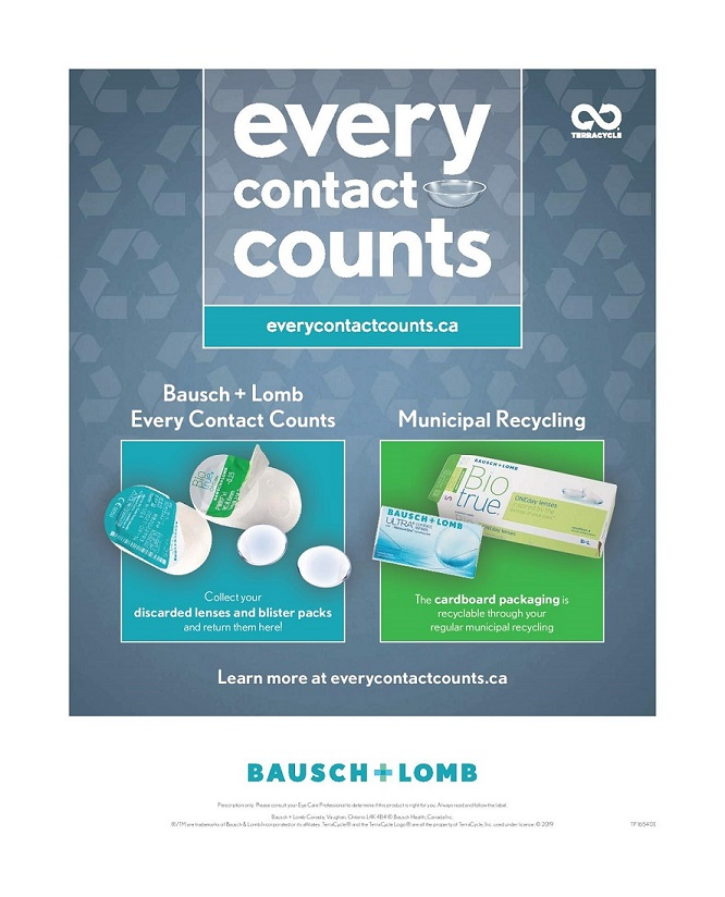 Bausch   Lomb Contact Lens Poster in our office in Ottawa, Ontario