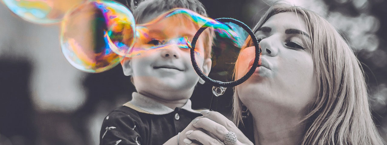Mom Son Blowing Bubbles 1280x480