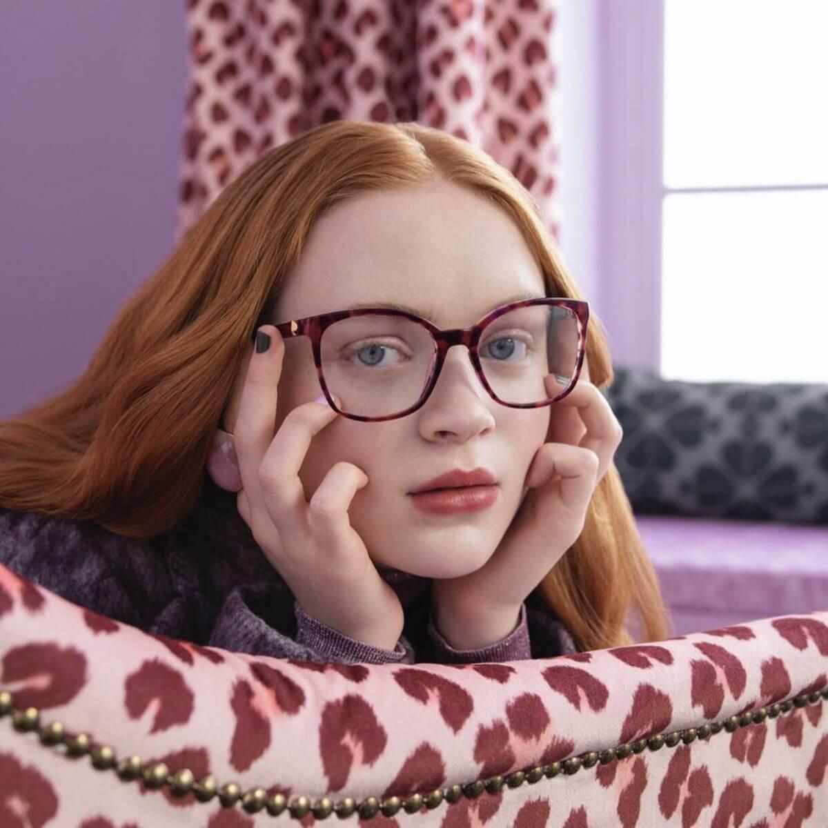 Sadie Sink wearing Kate Spade Glasses e1565971109291